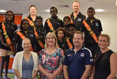 Kate Worden, Minister Eva Lawler, Stu Totham and Rychelle Vines pictured with students from Peppimenarti